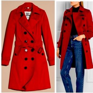 Burberry red Sandringham cashmere trench coat